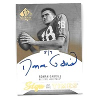 ROMAN GABRIEL 2013 Upper Deck SP Authentic Sign of the Times /7 on card auto