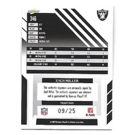 ZACH MILLER 2007 Score Select Autographs Gold Zone auto /25 Oakland Raiders