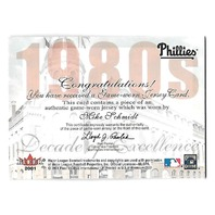 MIKE SCHMIDT 2001 Fleer Premium Decades of Excellence Memorabilia jersey /110