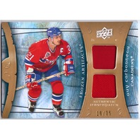 GUY CARBONNEAU 2009-10 (09/10) Frozen Artifacts Dual Jersey Patch Card /35