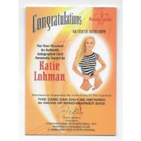 Katie Lohmann 2002 Benchwarmer Authentic auto Autograph