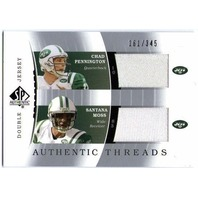 2003 SP Authentic Threads Chad Pennington Santana Moss Jersey Card /345 NY Jets