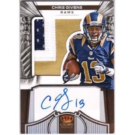 CHRIS GIVENS 2012 Crown Royale Silver Prime 3-color Rookie Patch Auto Card /149