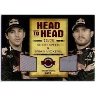 SCOTT SPEED BRIAN VICKERS Wheels Head To Head Red /25 Driver Worn Race Hats Card