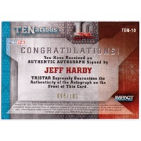 JEFF HARDY 2012 TRISTAR TNA TENacious Impact Wrestling Auto Gold /100 Card