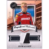 JUSTIN ALLGAIER 2011 Fanfare Magnificent Materials Race Used Firesuit Card /225