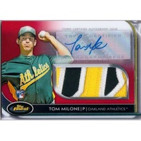 TOM MILONE 2012 Finest Jumbo Prime Patch Rookie Auto Red Refractor 9/25 Card