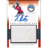 VICTOR ORTIZ 2013 Leaf Power Showcase JUMBO Jersey Auto Silver Card 9/10