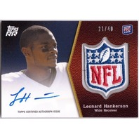 LEONARD HANKERSON 2011 Topps Rising Rookie NFL Shield Patch Auto Card 21/40