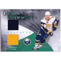 THOMAS VANEK 2010-11 10/11 Frozen Artifacts Emerald Dual Jersey Card 1/15