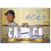 CARLOS GONZALEZ 2013 Topps Triple Threads Pinstripe Jersey Auto Card 7/18 Signed