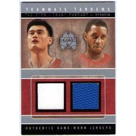 YAO MING TRACY McGRADY 2004-05 SkyBox Fresh Ink Teammate Tandems Game Jersey