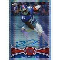 DAVID WILSON 2012 Topps Chrome Prism Refractors 26/50 Rookie Auto On Card