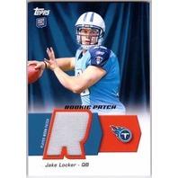 JAKE LOCKER 2011 Topps Rookie Prime Jersey Patch Card #HRPJL