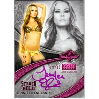 JENNIFER ENGLAND 2013 Bench Warmer Gold Edition 10/15 Pink Foil Auto On Card