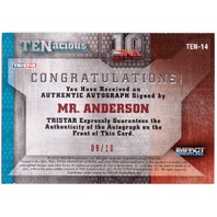 MR. ANDERSON 2012 TNA Impact Tenacious Red Auto Card 9/10 Signed Card #TEN14