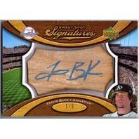 TRAVIS BUCK Sweet Spot Signatures Bat Wood Rookie Auto Blue Ink 1/6 Card