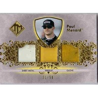 PAUL MENARD 2012 Total Memorabilia Gold Race Glove Firesuit Sheet Metal 31/50