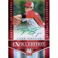 TYLER GONZALES 2012 Elite Extra Edition Green Ink 3/10 Rookie Card Auto