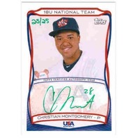 CHRISTIAN MONTGOMERY 2010 Topps USA Baseball Rookie Auto Green 25/25 Card
