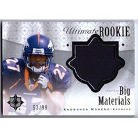 KNOWSHON MORENO 2009 Ultimate Rookie Big Materials Prime Jersey Patch 53/99 Card
