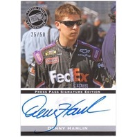 DENNY HAMLIN 2008 Press Pass Auto Gold 25/50 NASCAR Signed Nextel Racing Card