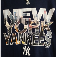 Majestic New York Yankees Navy Blue T-Shirt City Skyline Size S MLB Baseball