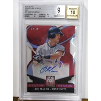 JOE MAUER 2014 Elite Signature Status Red /10 Graded BGS 9 w/ 10 Auto Card