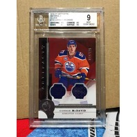 Connor McDavid 2016 Artifacts Graded BGS 9 Mint Dual Relic Card /125 Oilers
