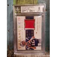 Tom Brady National Treasures 2015 Relic #TQBTB /5 New England Patriots BGS 8