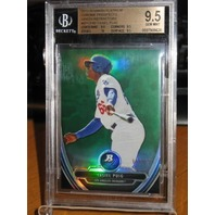 YASIEL PUIG 2013 Bowman Platinum Prospects Green Refractor RC 24/399 Graded 9.5
