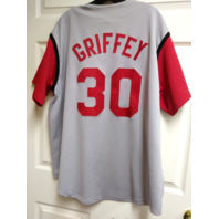 KEN GRIFFEY JR MAJESTIC MEN'S SZ XL RED GRAY JERSEY CINCINNATI REDS MLB BASEBALL