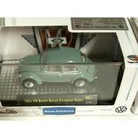1953 VW BEETLE DELUXE EUROPEAN MODEL Grey Green M2 AUTO-THENTICS RUBBER TIRES 1:64 R01