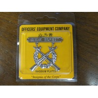 Officers Equipment Co. USMC US Marine Corps Rifle Expert Badge Rhodium Plated