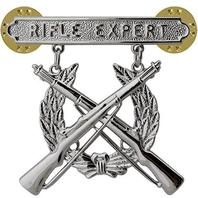 Officers Equipment Co. USMC US Marine Corps Rifle Expert Badge Rhodium Plated