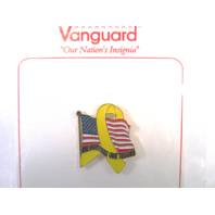 Vanguard Novelty Lapel Pin We Support Our Troops Flag Yellow Ribbon