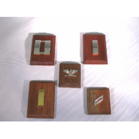 Rank Insignia Mounted On Wood Display - Lot of 5 - USN SRLT LTJG CAPT E2