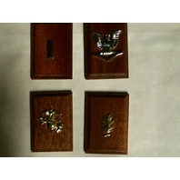 Rank Insignia Mounted On Wood Display - Lot of 4 - USN E4 MS LTJG USMC Enlisted