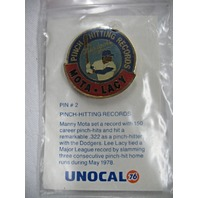 LA Dodgers Baseball Pinch-Hit Record Mota and Lacy 1978 Pin #2 NEW* UNOCAL76