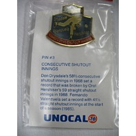 LA Dodgers Baseball Consecutive Shutout Innings Drysdale, Hershiser and Valenzuela Pin #3 NEW* UNOCAL76