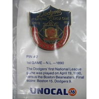 LA Dodgers Baseball 1890 1st National League Game Dodgers vs Boston Pin #2 NEW* UNOCAL76