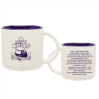 """Vanguard NAVY COFFEE MUG WITH FEMALE CPO LOGO """"EARNED NOT GIVEN"""" - 14 OZ"""