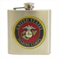 Vanguard MARINE CORPS FLASK: USMC EMBLEM 6 OZ STAINLESS STEEL