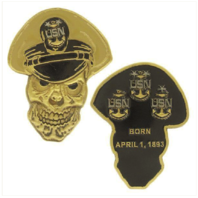 "Vanguard COIN: 2-1/2"" NAVY MASTER CHIEF PETTY OFFICER SKULL"