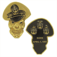 "Vanguard COIN: 2-1/2"" NAVY SENIOR CHIEF PETTY OFFICER SKULL"