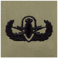 Vanguard ARMY EMBROIDERED BADGE: BASIC EOD EMBROIDERED WITH BLACK THREAD ON ABU