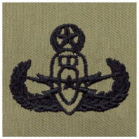 Vanguard ARMY EMBROIDERED BADGE: MASTER EOD EMBROIDERED WITH BLACK THREAD ON ABU