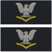 Vanguard NAVY EMBROIDERED COLLAR DEVICE: E4 THIRD CLASS - SILVER GOLD ON COVERALL