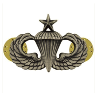 Vanguard ARMY BADGE: SENIOR PARACHUTE - REGULATION SIZE, SILVER OXIDIZED