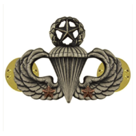 Vanguard ARMY BADGE: MASTER COMBAT PARACHUTE SECOND AWARD - SILVER OXIDIZED